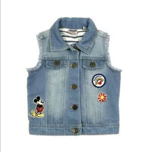 Disney Junk Food Mickey Mouse Patches Denim Vest